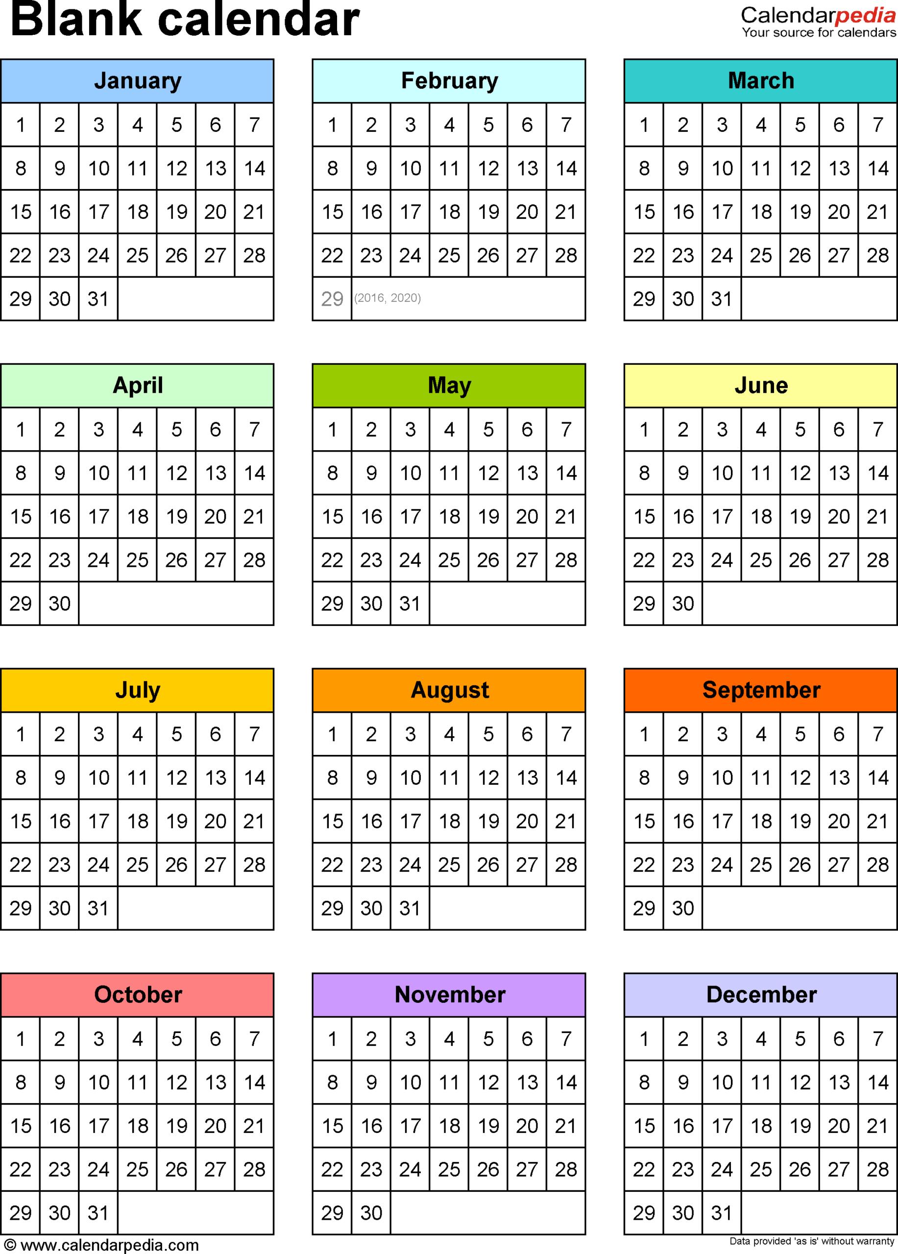 Blank Calendars - Free Printable Microsoft Word Templates inside Month At A Glance Blank Calendar Template