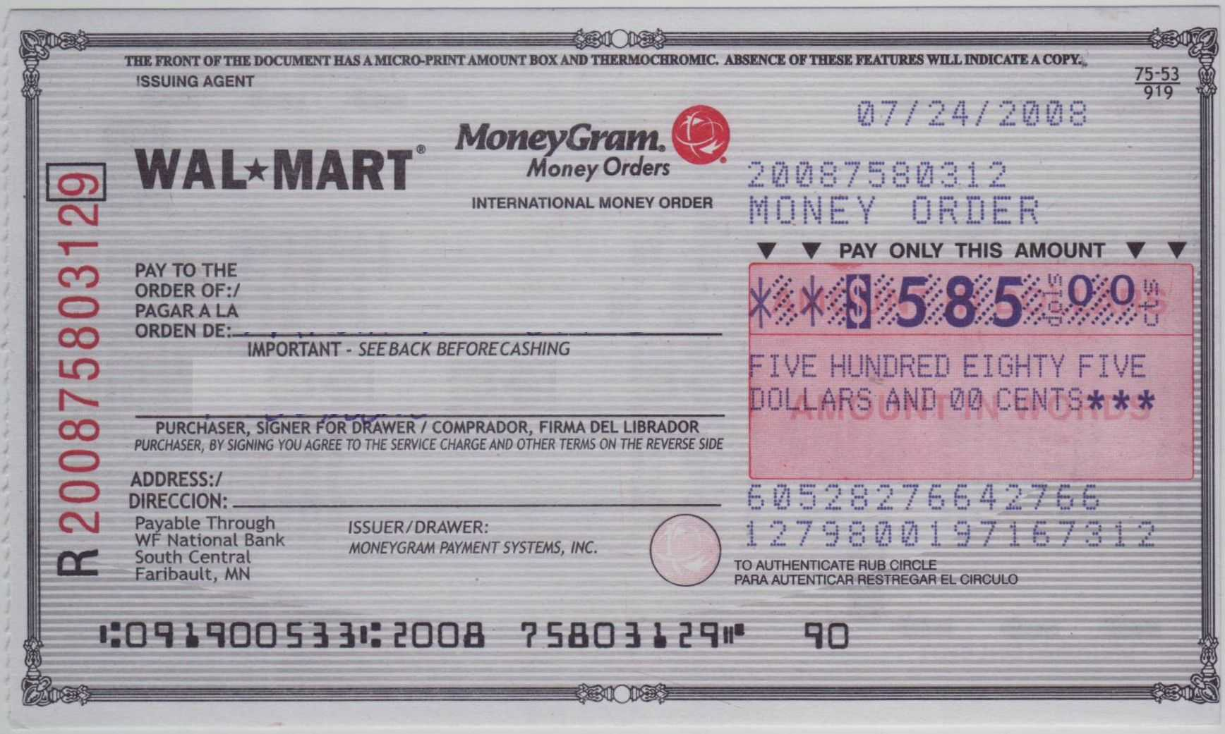 Blank Check Sample | How To Fill Out A Moneygram Money Order Pertaining To Blank Money Order Template