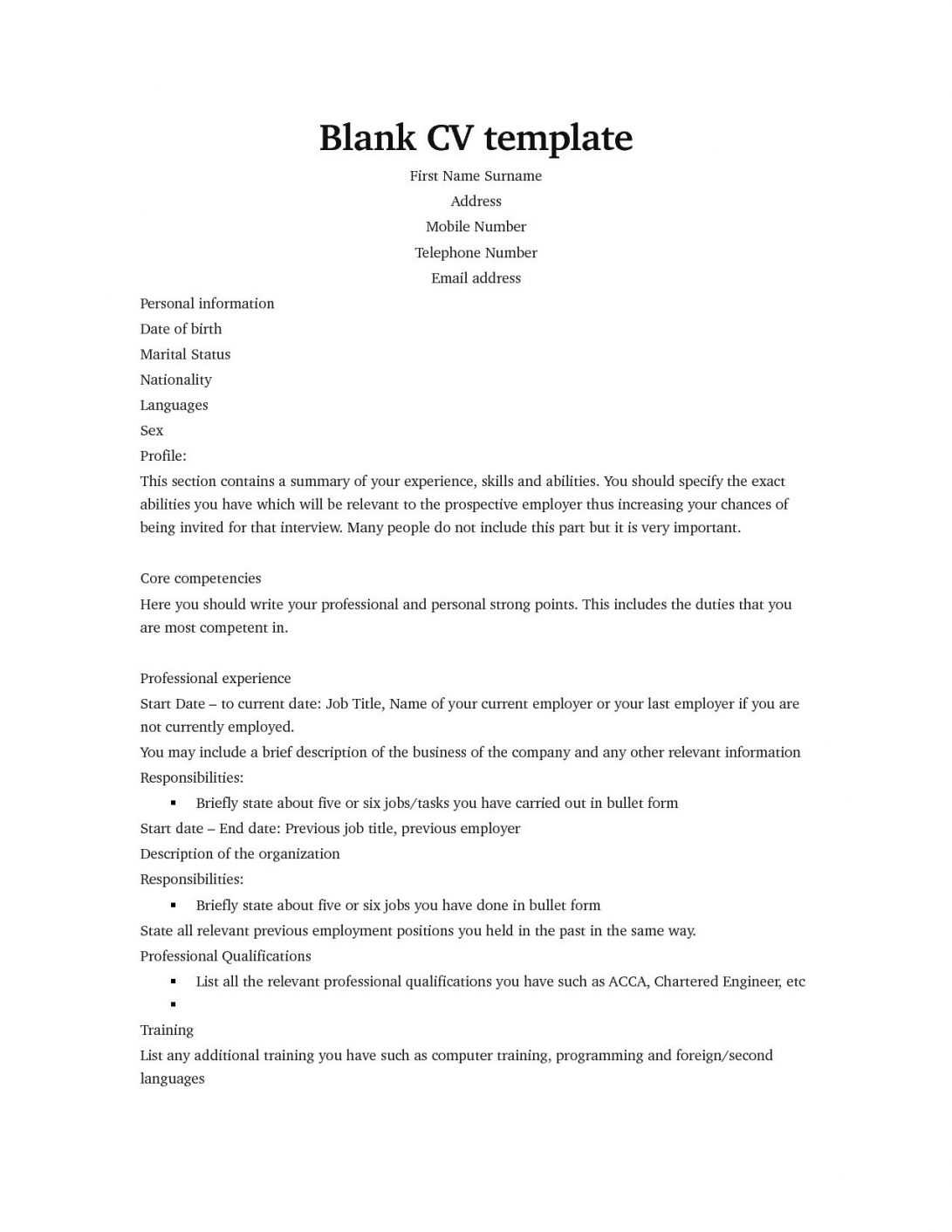Blank Cv Template Pinfree Resume Templates Sample intended for Free Blank Cv Template Download