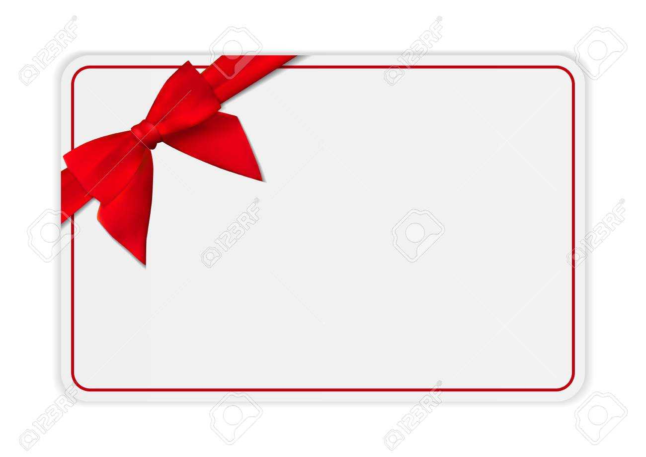 Blank Gift Card Template With Bow And Ribbon. Vector Illustration.. Pertaining To Present Card Template