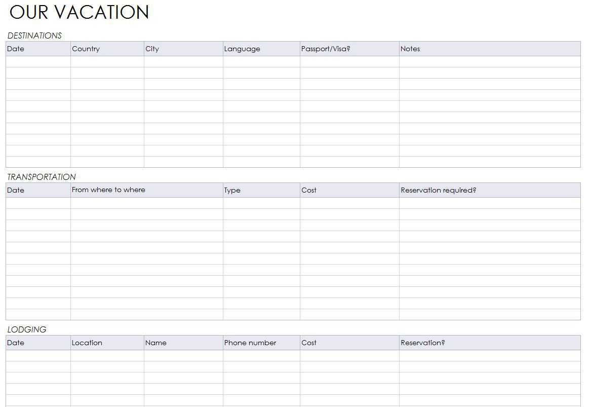 Blank Itinerary Templates - Word Excel Samples with Blank Trip Itinerary Template