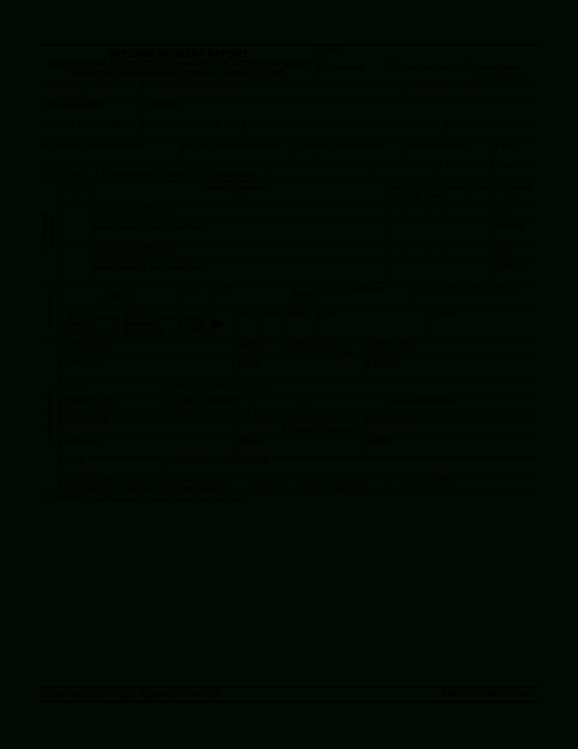 Blank Police Report Template   Templates At For Blank Police Report Template