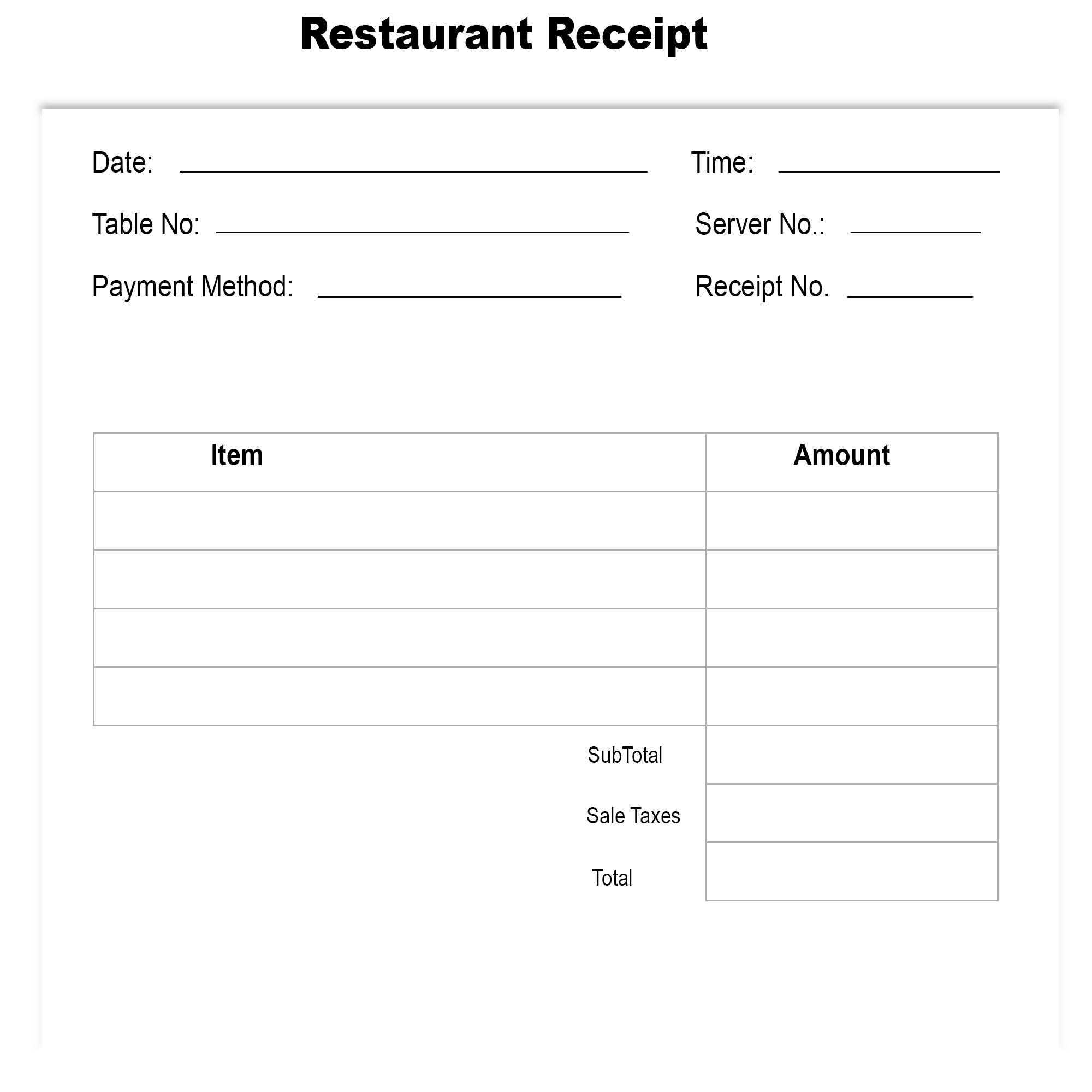 Blank Restaurant Receipt Template | The Receipt Template in Blank Taxi Receipt Template