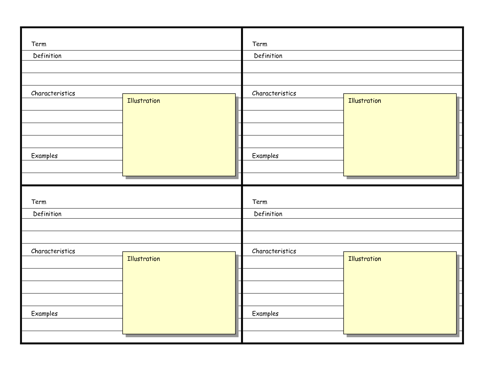 Blank Vocabulary Card Template | Vocabulary Flash Cards with Word Cue Card Template