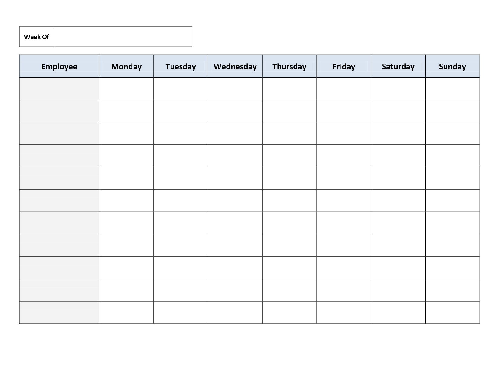 Blank Weekly Work Schedule Template | Cleaning Schedule throughout Blank Revision Timetable Template