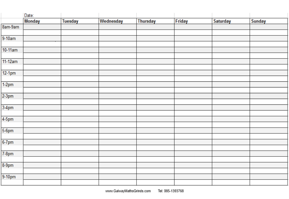 Blank+Weekly+Calendar+Template+With+Times | Timetable with regard to Blank Revision Timetable Template