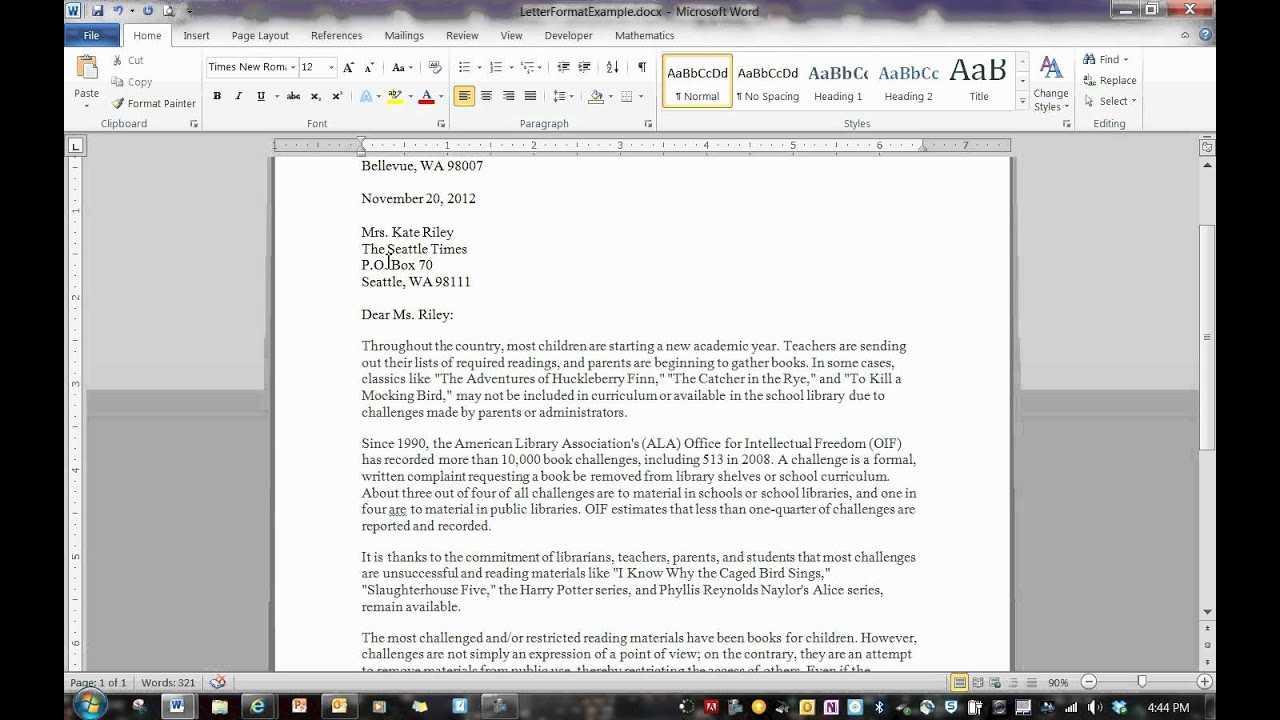 Block Format Letter inside Modified Block Letter Template Word