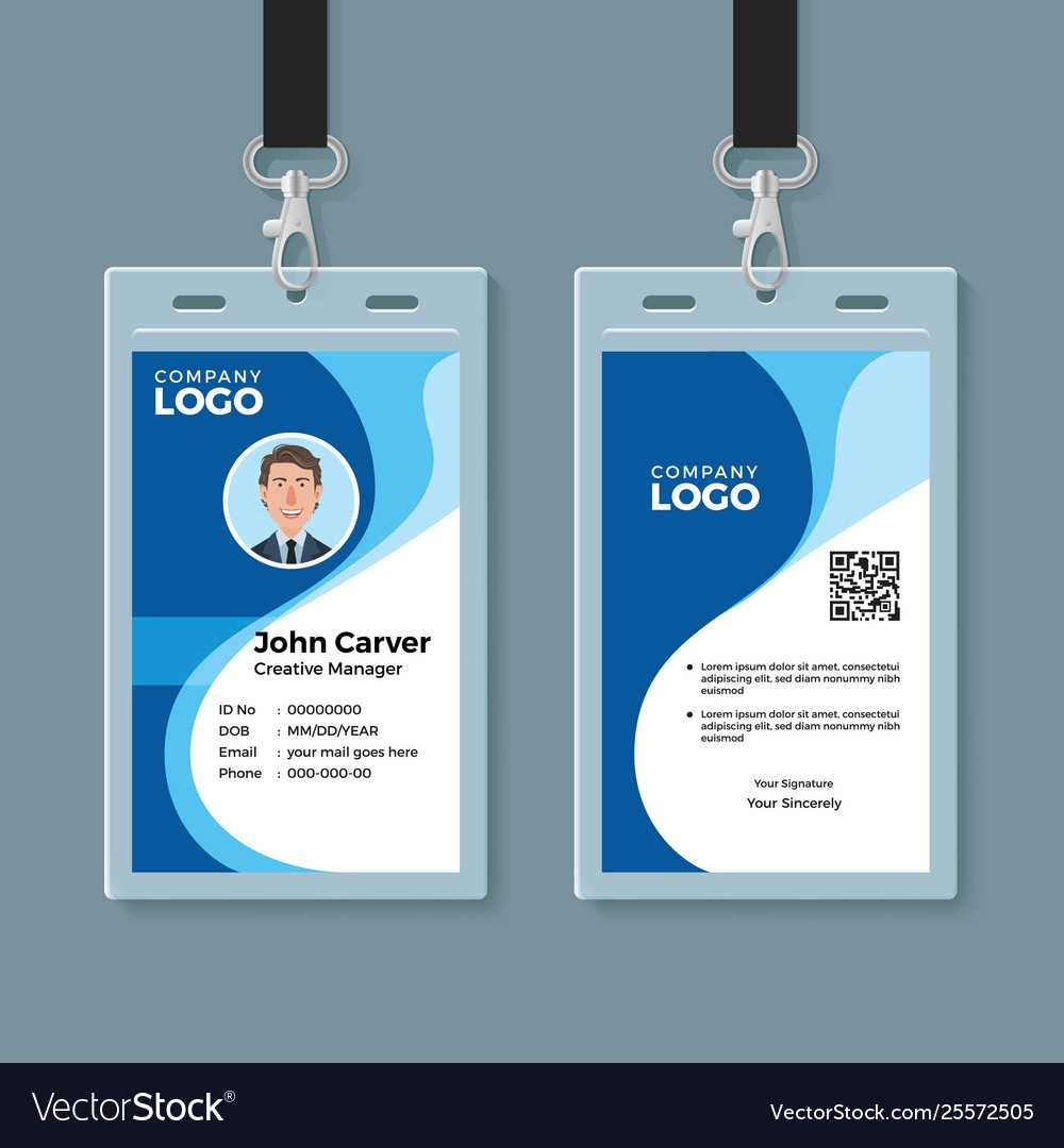 Blue Curve Wave Id Card Design Template With Regard To Template For Id Card Free Download