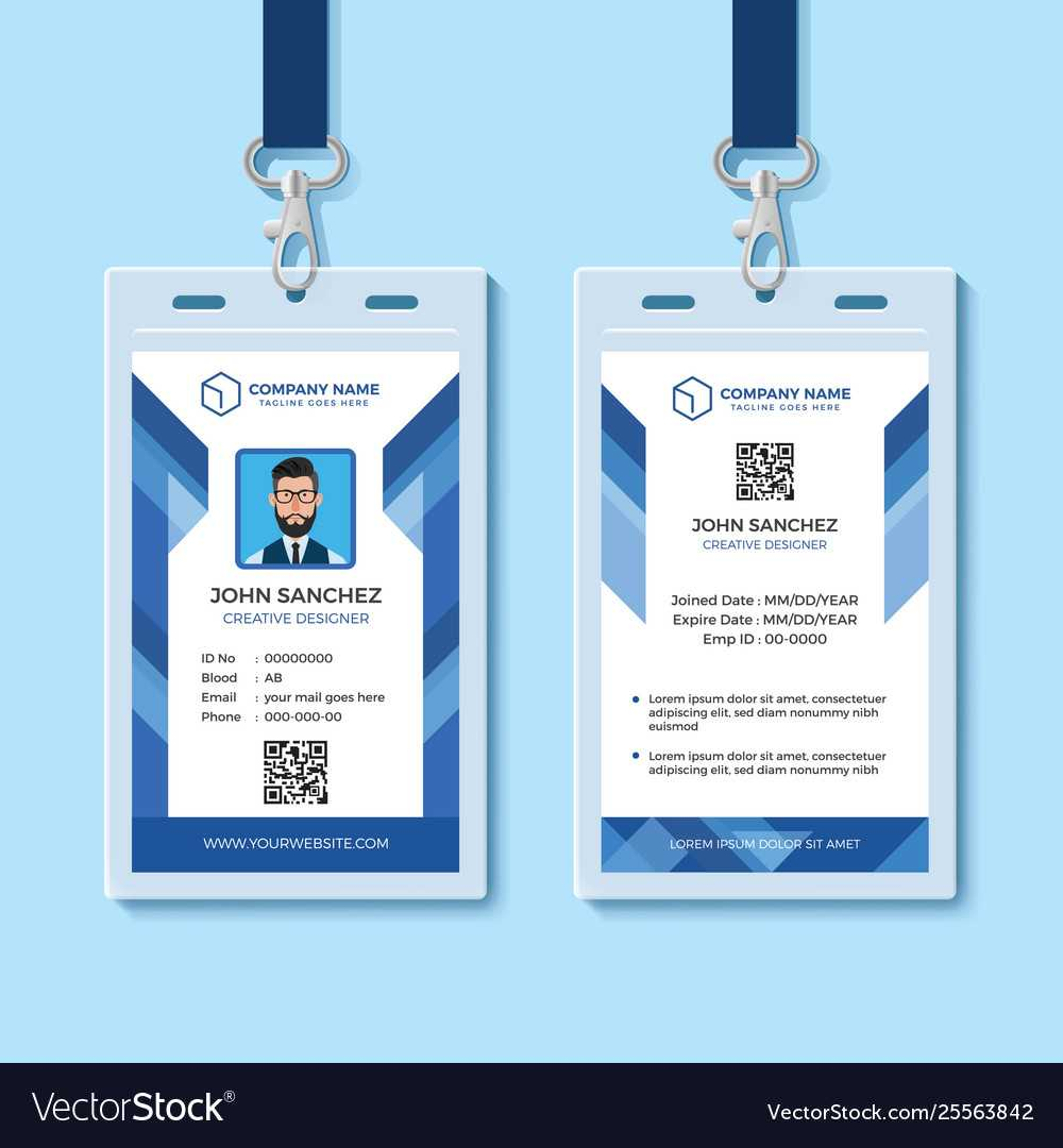 Blue Employee Id Card Design Template With Template For Id Card Free Download