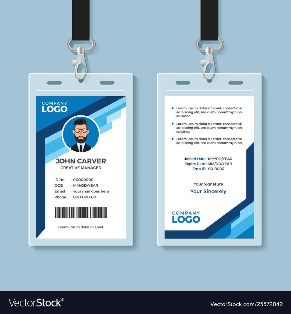 Blue Graphic Employee Id Card Template With Regard To Work Id Card Template