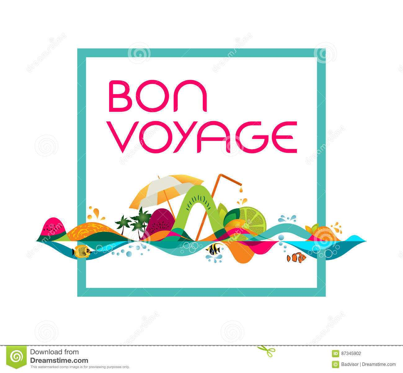 Bon Voyage - Banner, Vector Template Illustration Stock within Bon Voyage Card Template