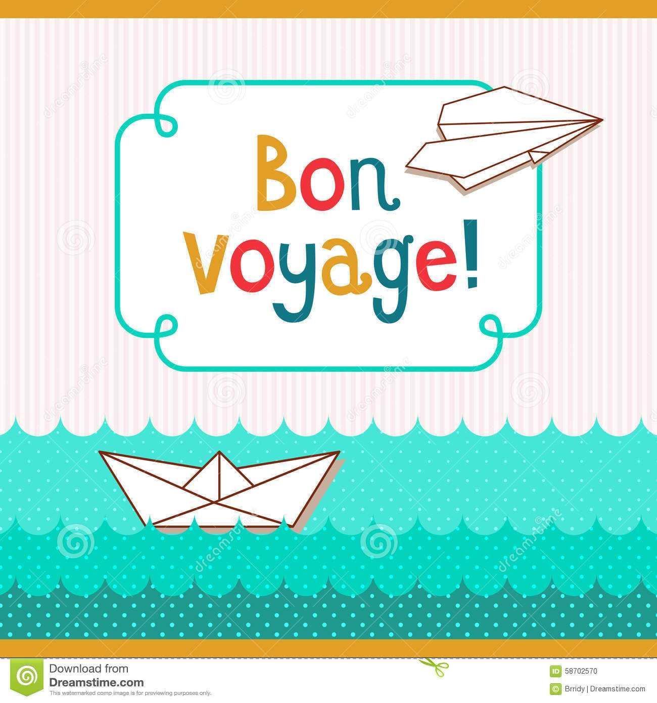Bon Voyage Card Illustration 58702570 - Megapixl inside Bon Voyage Card Template