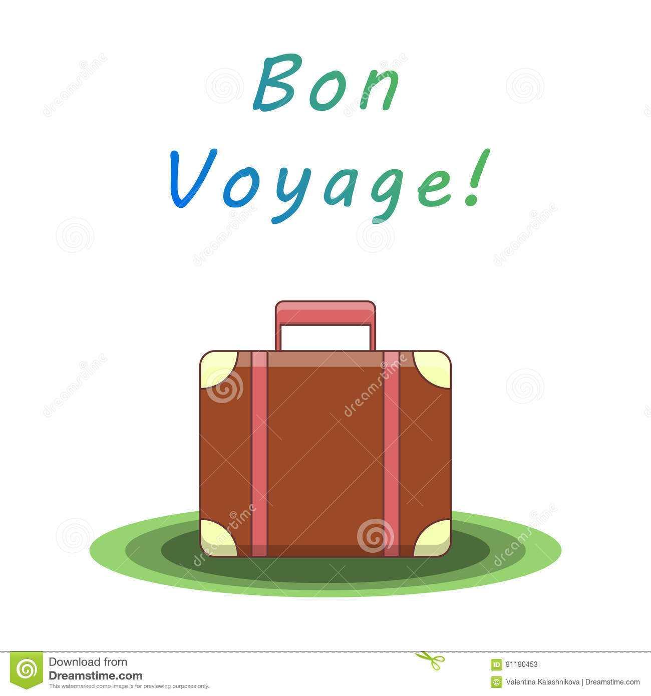 Bon Voyage Suitcase. Vector Illustration Stock Vector throughout Bon Voyage Card Template