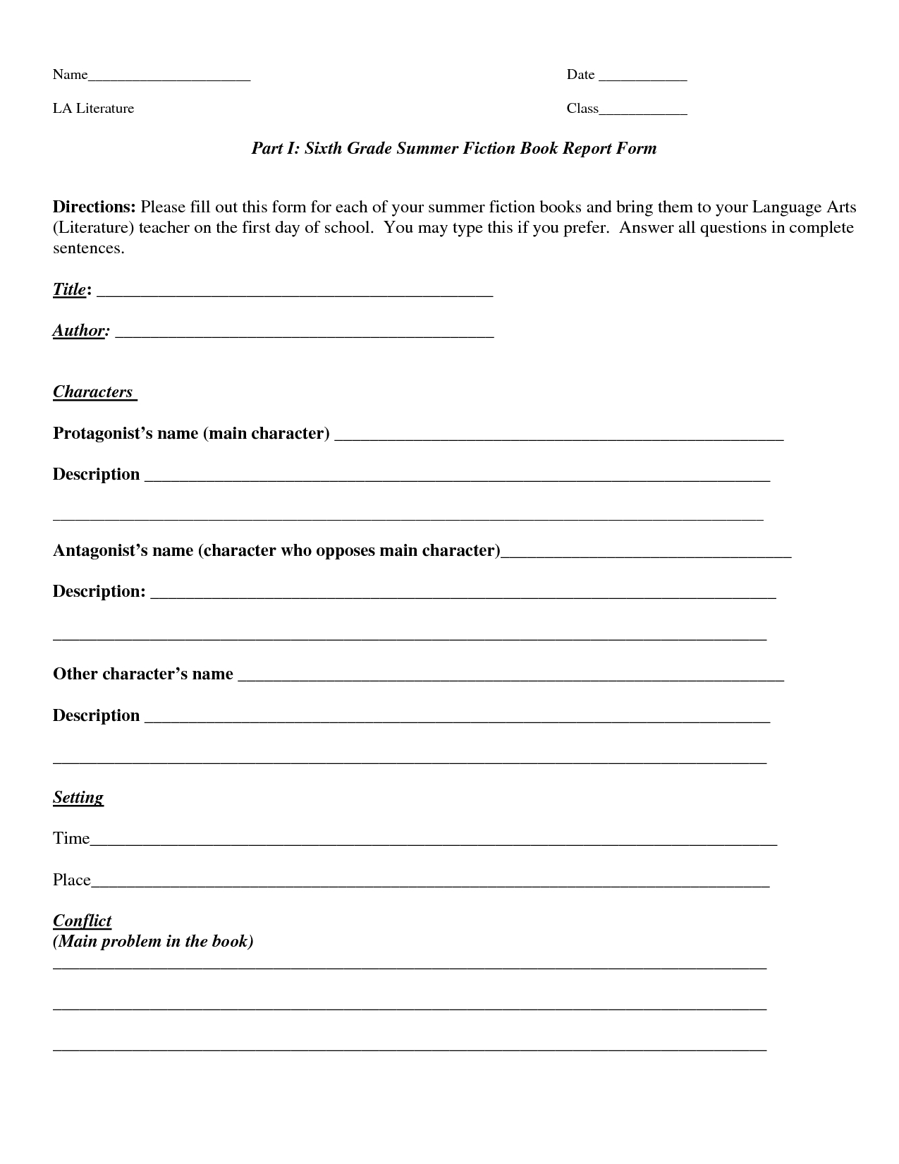 Book Report Template | Part I Sixth Grade Summer Fiction intended for 6Th Grade Book Report Template