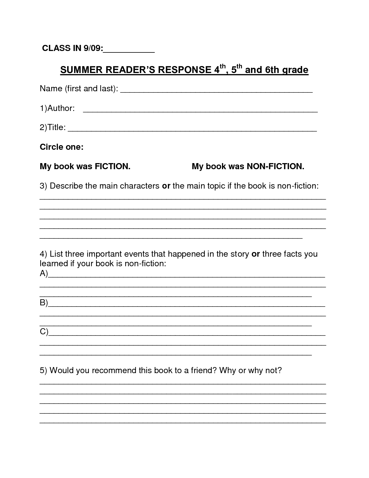 Book Report Template   Summer Book Report 4Th  6Th Grade In 6Th Grade Book Report Template