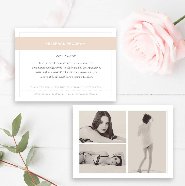 Boudoir Photography Referral Card - Photoshop Template With for Photography Referral Card Templates