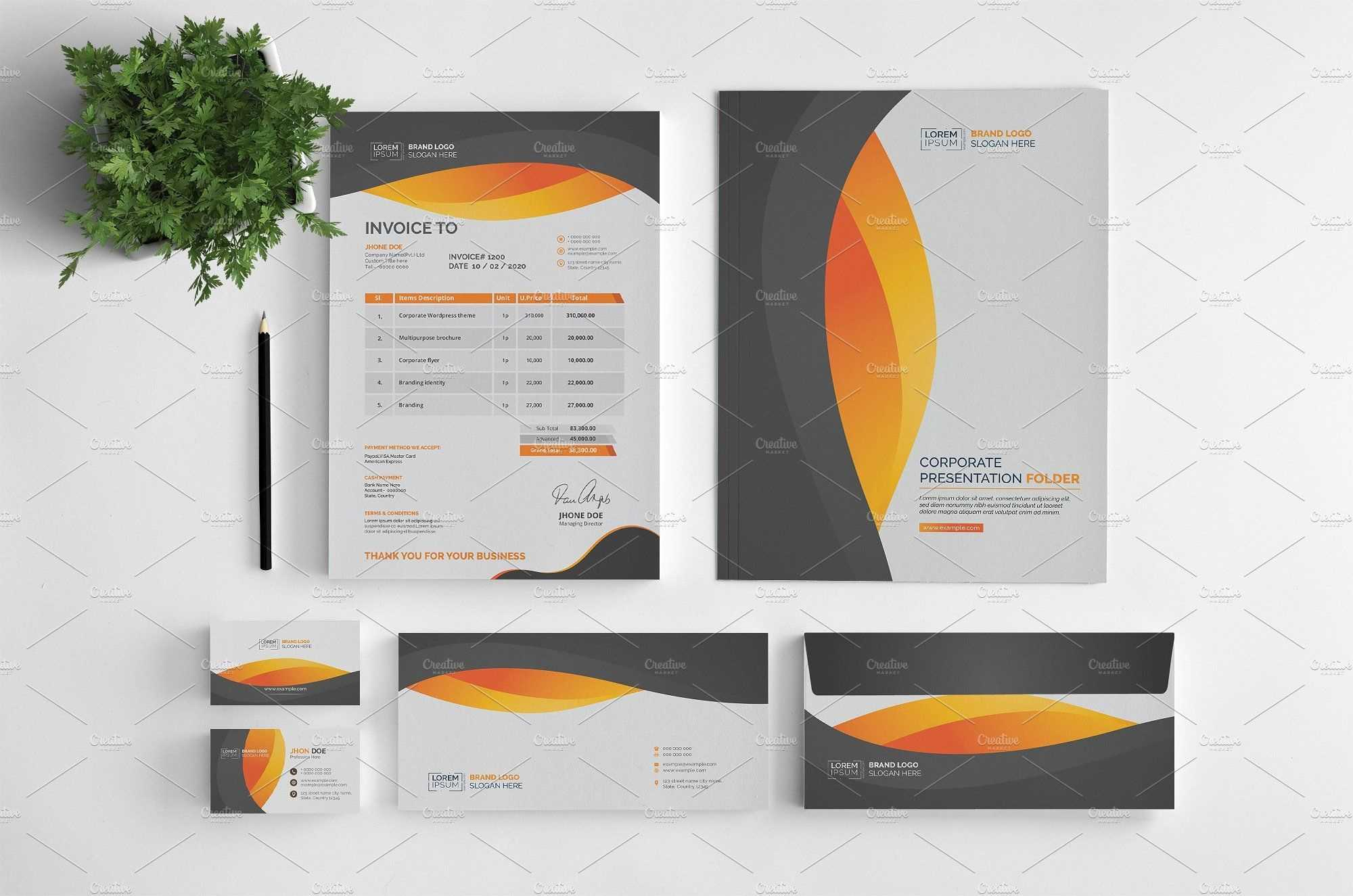 Branding Stationery Set. A Collection Of Branding/identity inside Business Card Letterhead Envelope Template