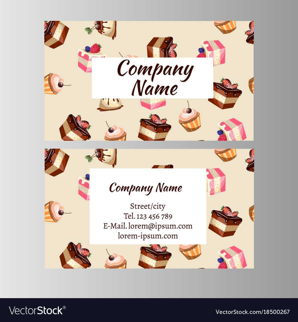 Business Card Design Template With Tasty Cakes Intended For Cake Business Cards Templates Free