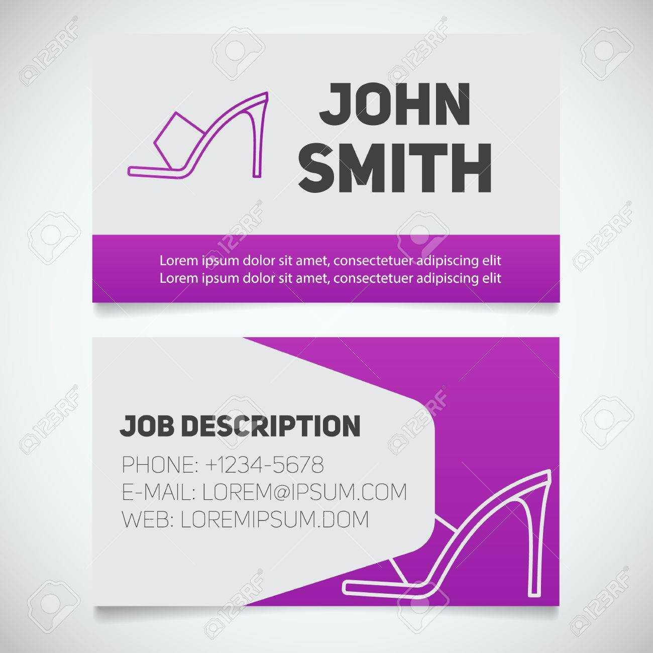 Business Card Print Template With High Heel Shoe Logo. Manager Inside High Heel Template For Cards