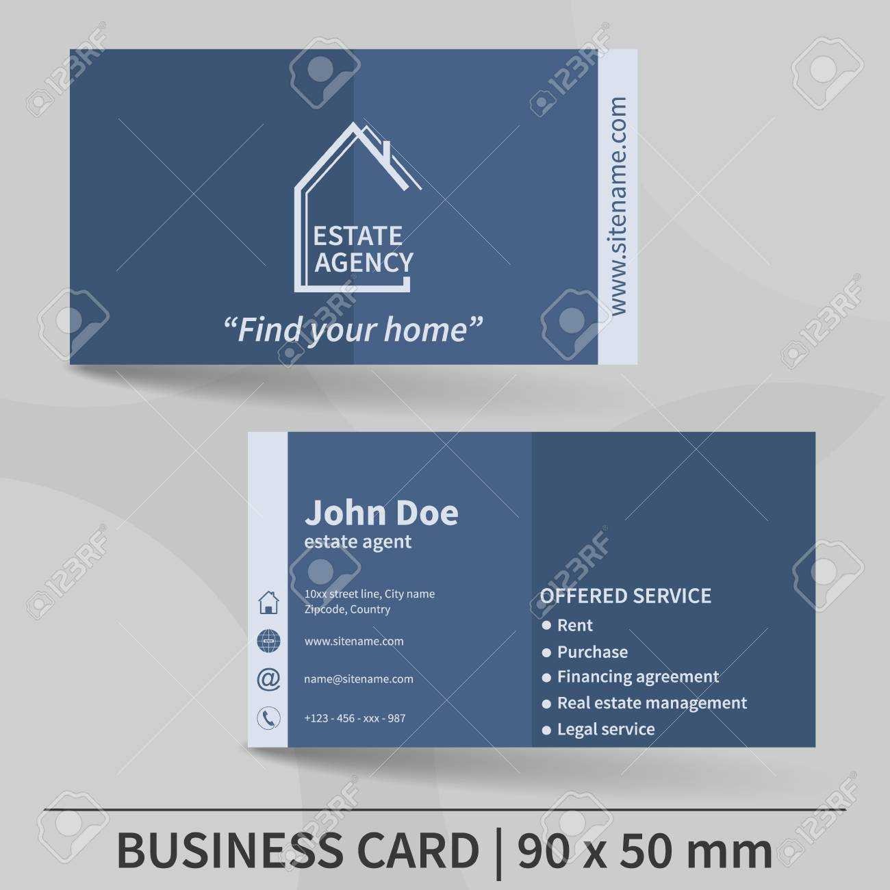 Business Card Template. Real Estate Agency. Design For Your Individual.. With Real Estate Agent Business Card Template