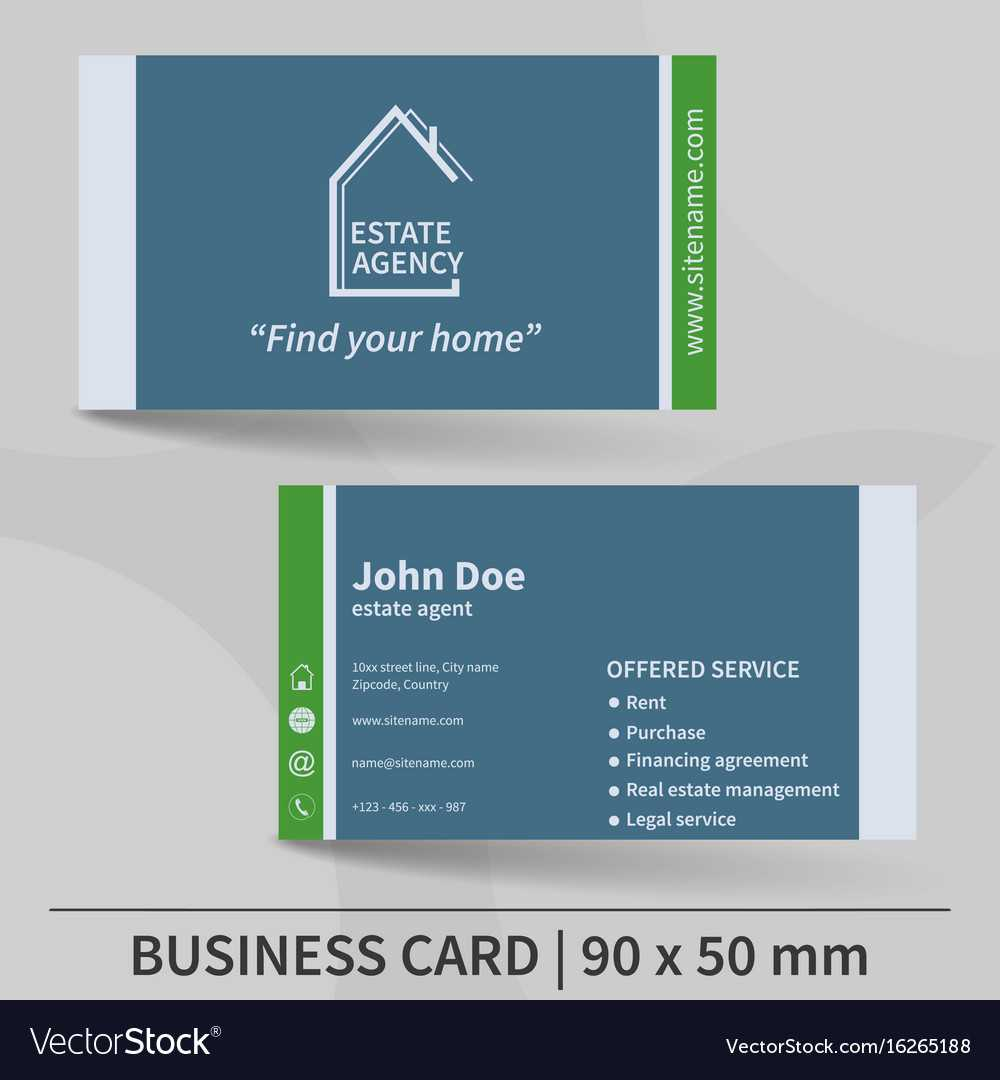 Business Card Template Real Estate Agency Design In Real Estate Agent Business Card Template