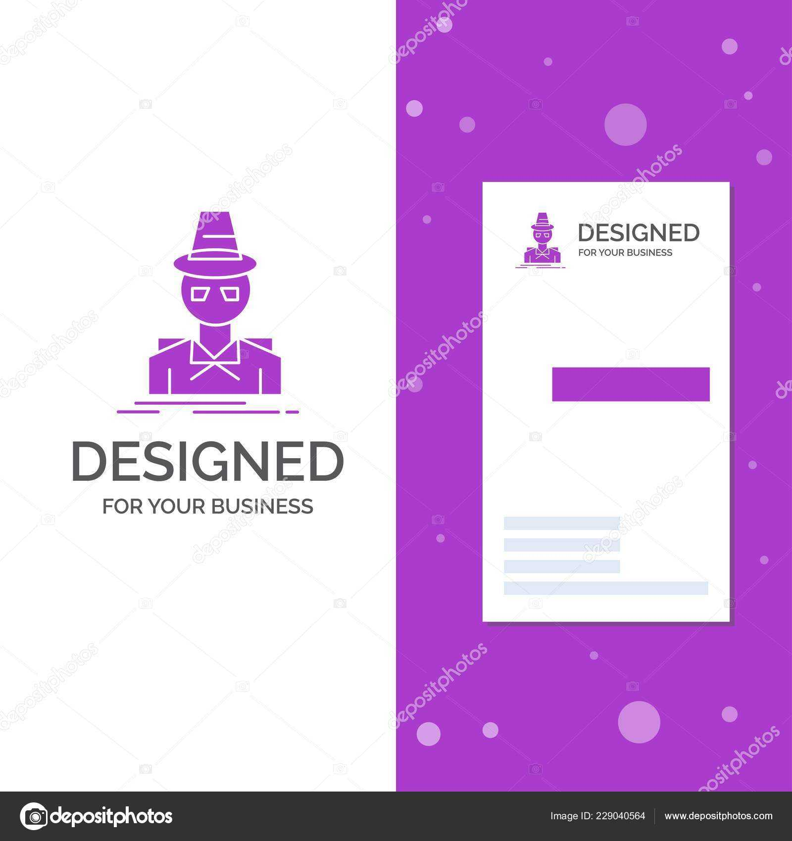 Business Logo Detective Hacker Incognito Spy Thief Vertical In Spy Id Card Template