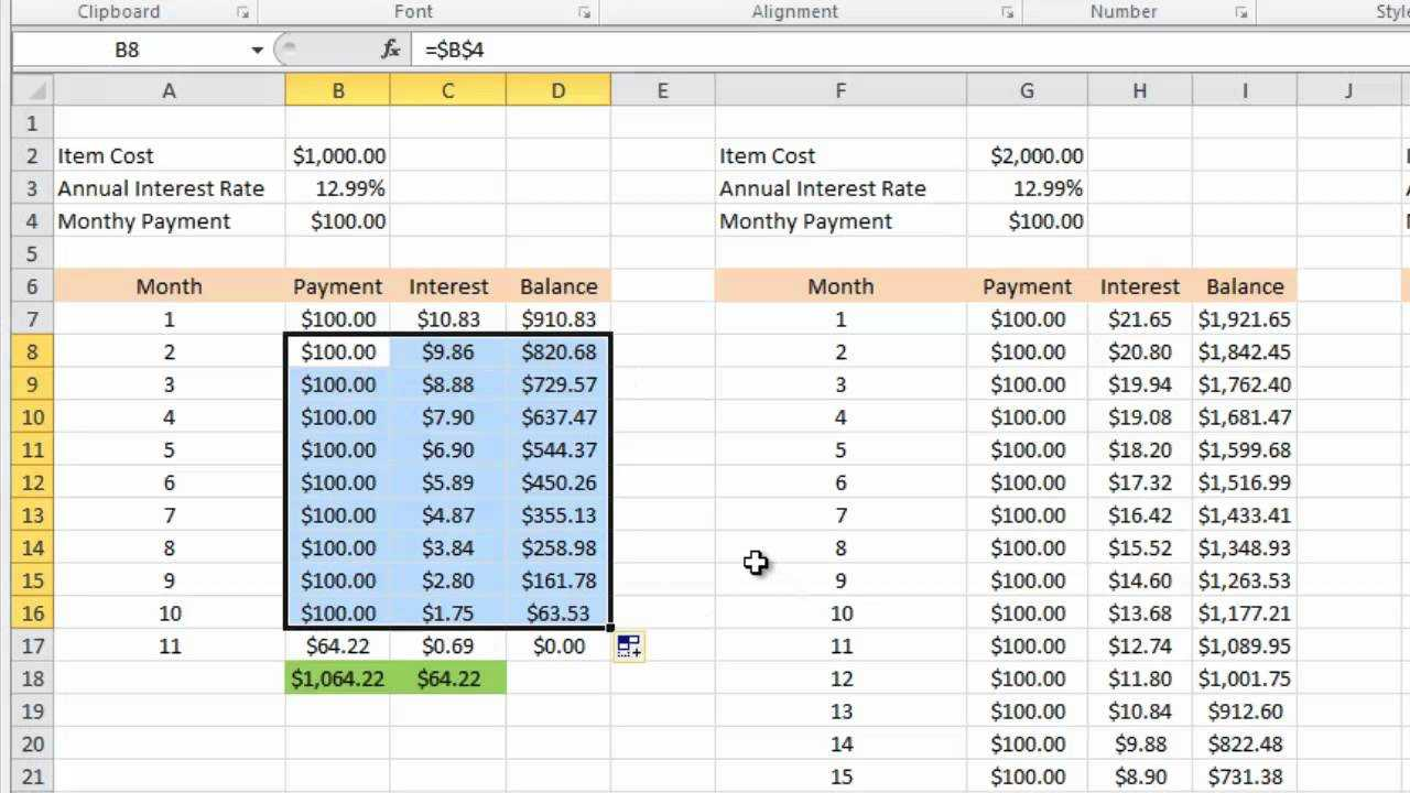 Calculating Credit Card Payments In Excel 2010 Throughout Credit Card Interest Calculator Excel Template