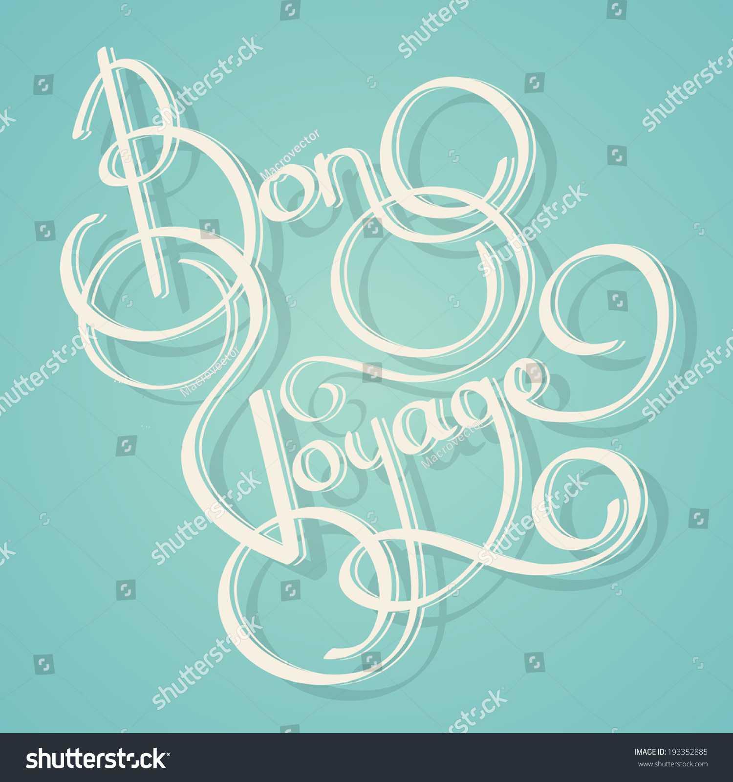 Calligraphy Bon Voyage Vintage Lettering Postcard Stock intended for Bon Voyage Card Template