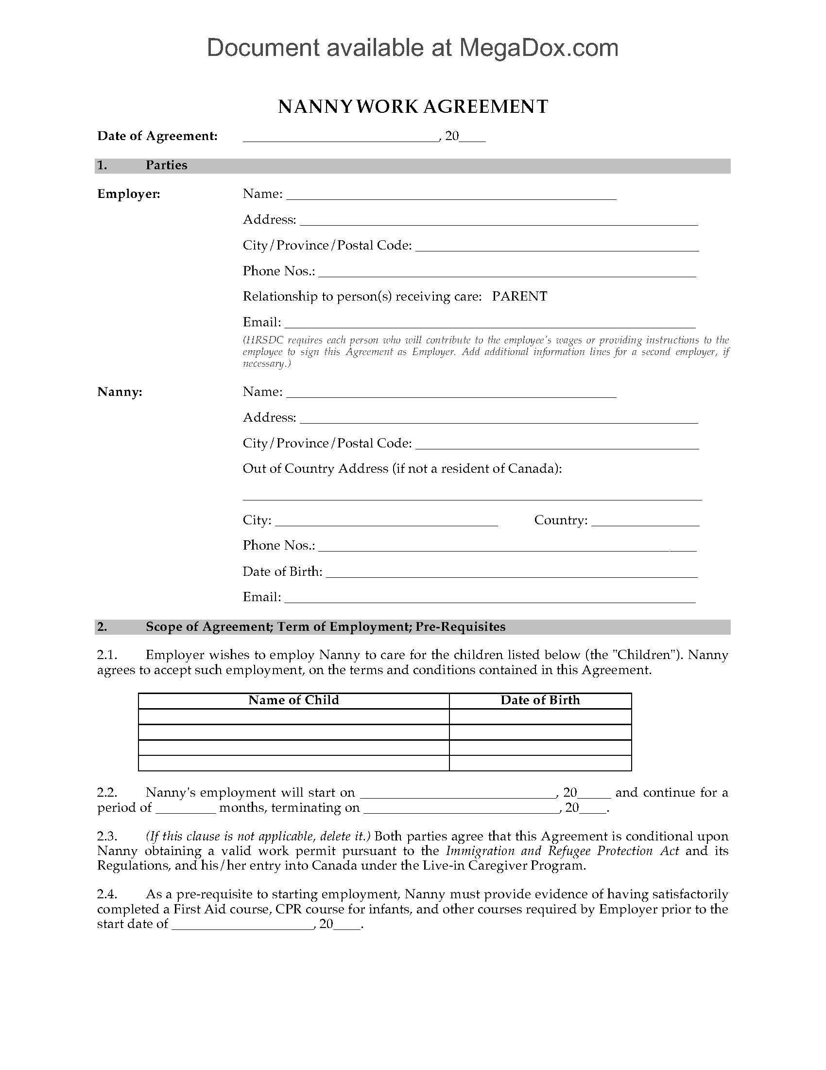 Canada Nanny Employment Agreement Regarding Nanny Contract Template Word