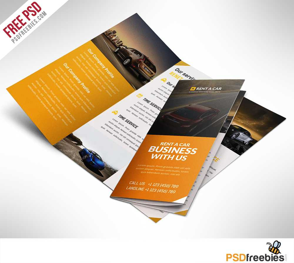 Car Dealer And Services Trifold Brochure Free Psd For 3 Fold Brochure Template Psd Free Download