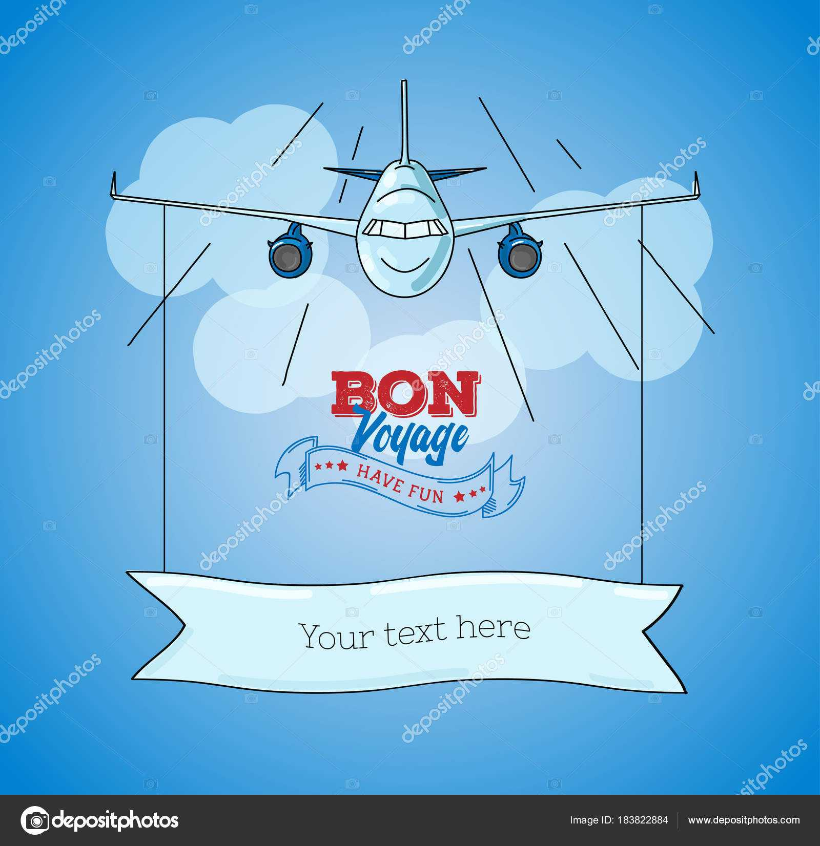Card Template With Plane Graphic Illustration On Blue Sky Within Bon Voyage Card Template