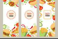 Cartoon Flat Fast Food Banner Template Set within Food Banner Template