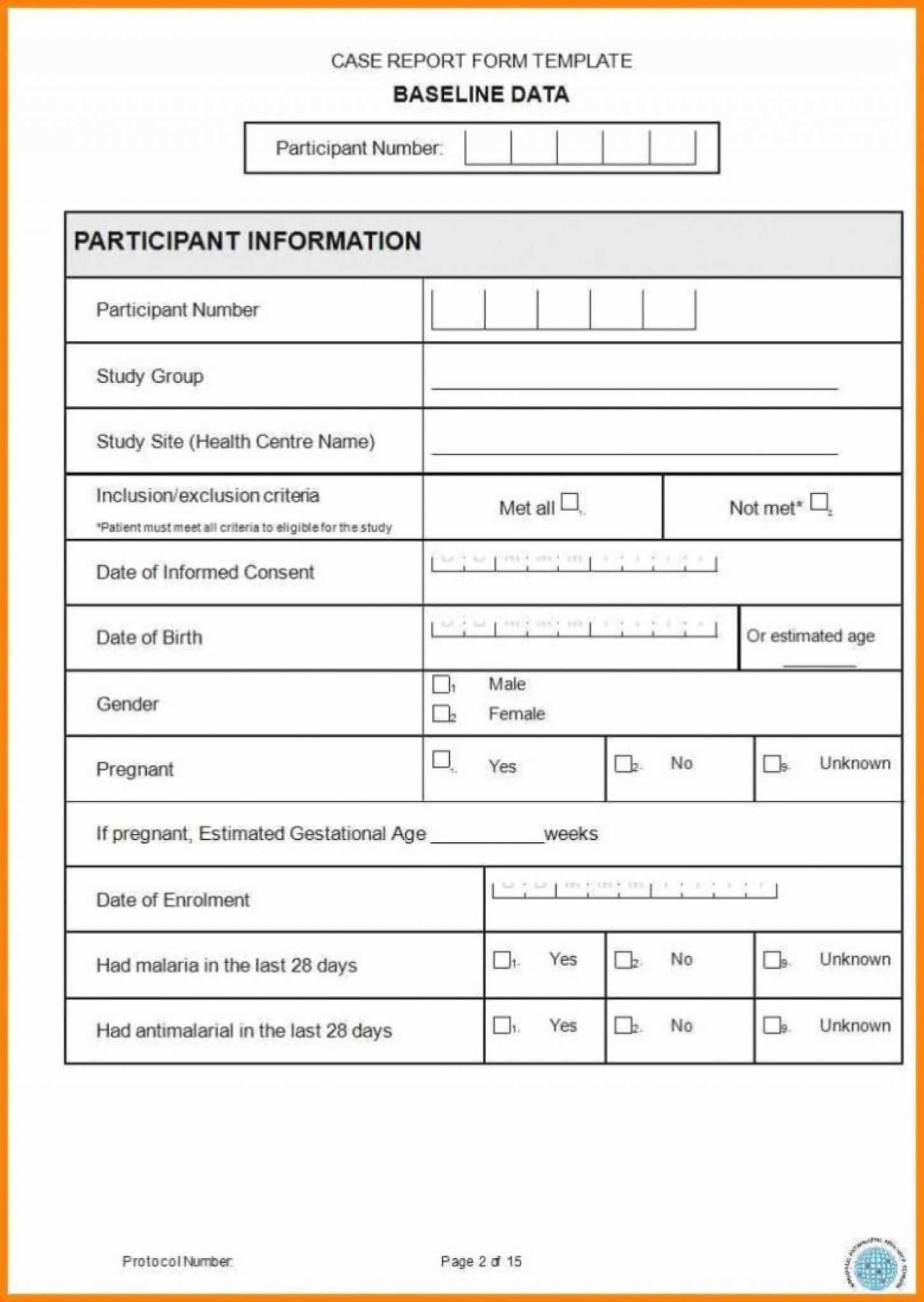 Case Report Form Template Unique Catering Resume Clinical Intended For Trial Report Template