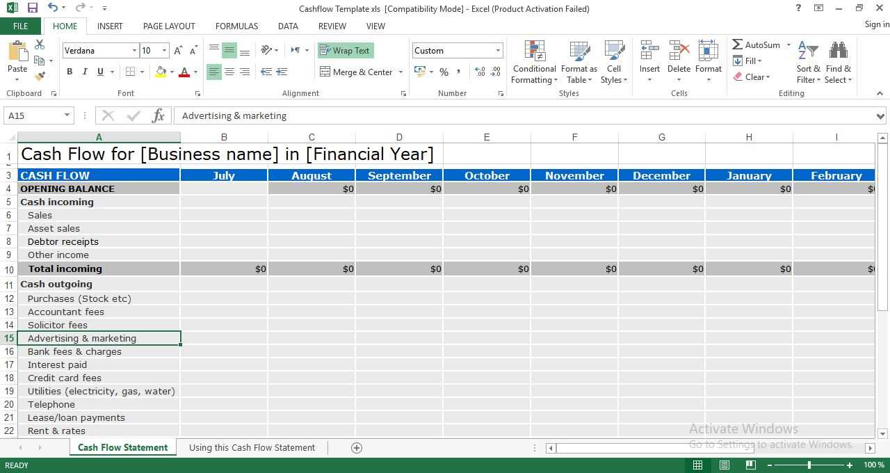 Cash Flow Statement Excel Template - Engineering Management intended for Cash Position Report Template