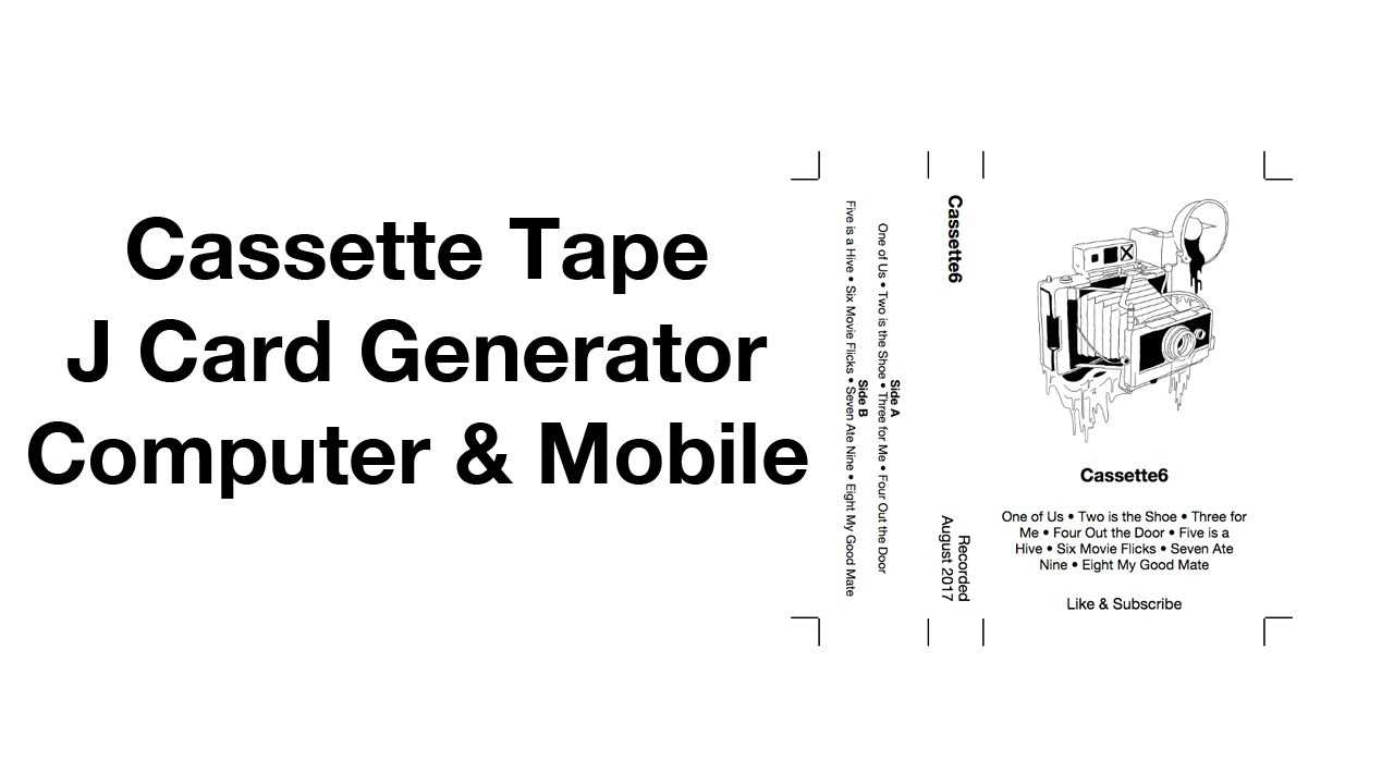 Cassette Tape J Card Template Generator Easy Mixtape Maker intended for Cassette J Card Template