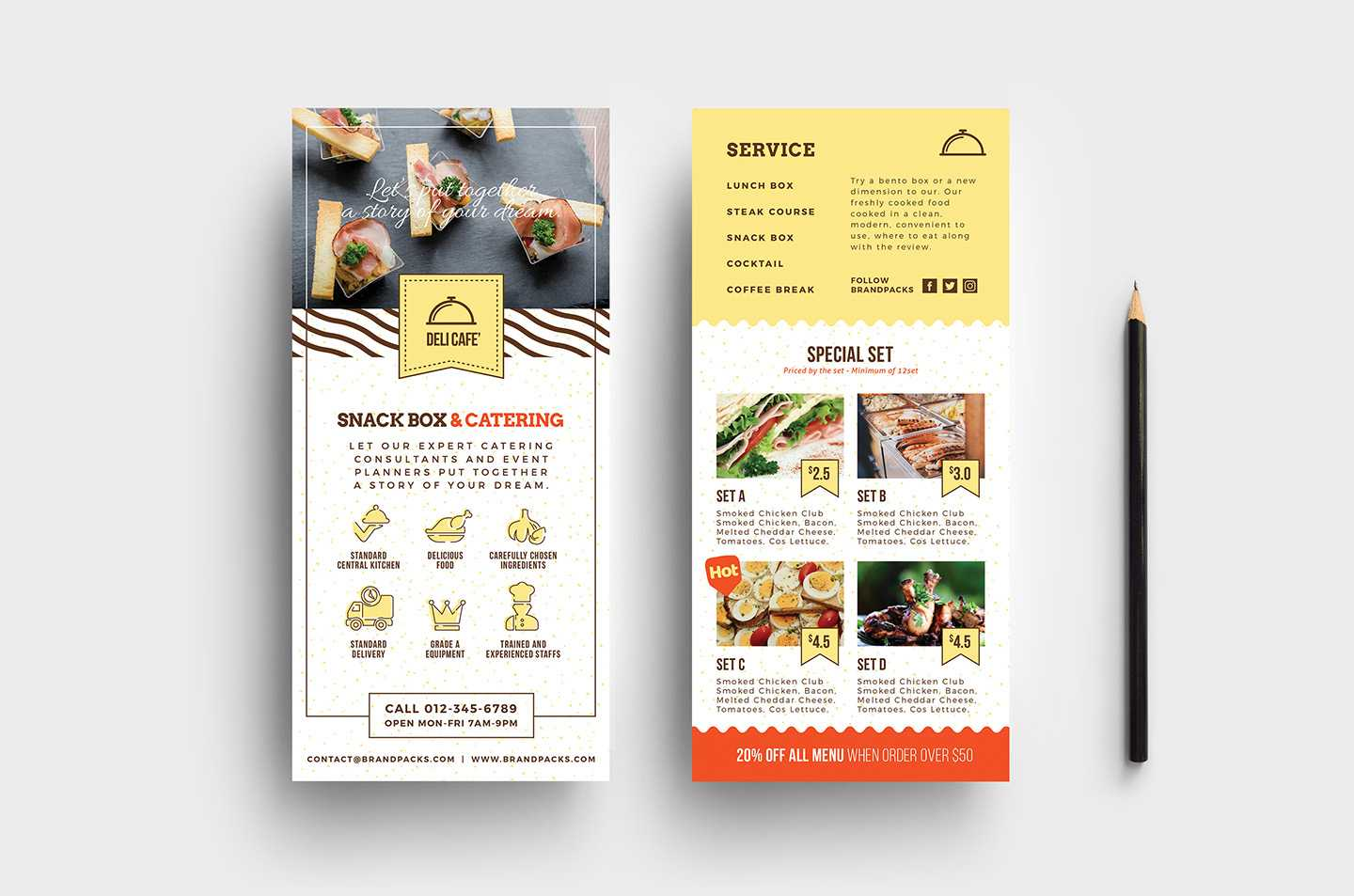 Catering Service Dl Card Template - Psd, Ai & Vector Pertaining To Dl Card Template