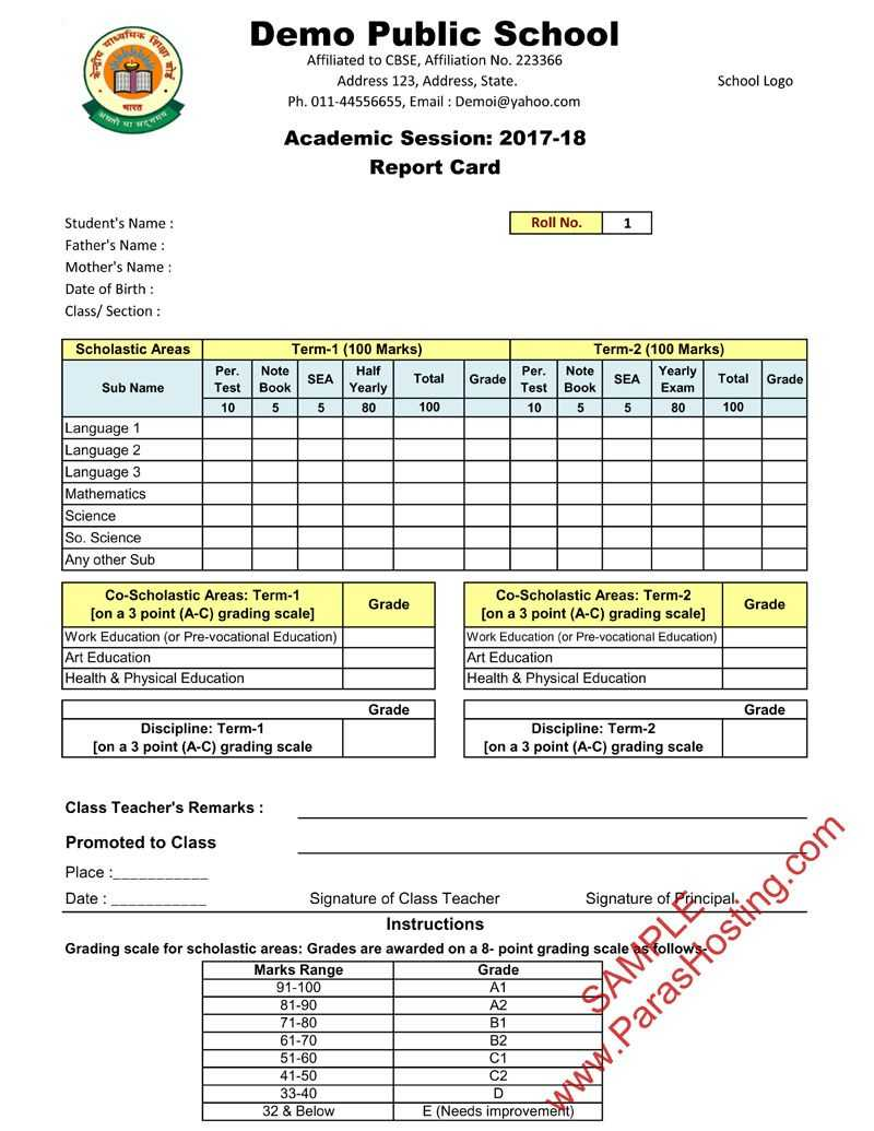 Cbse Report Card Format For Class Vi To Viii | Cards Throughout Report Card Format Template