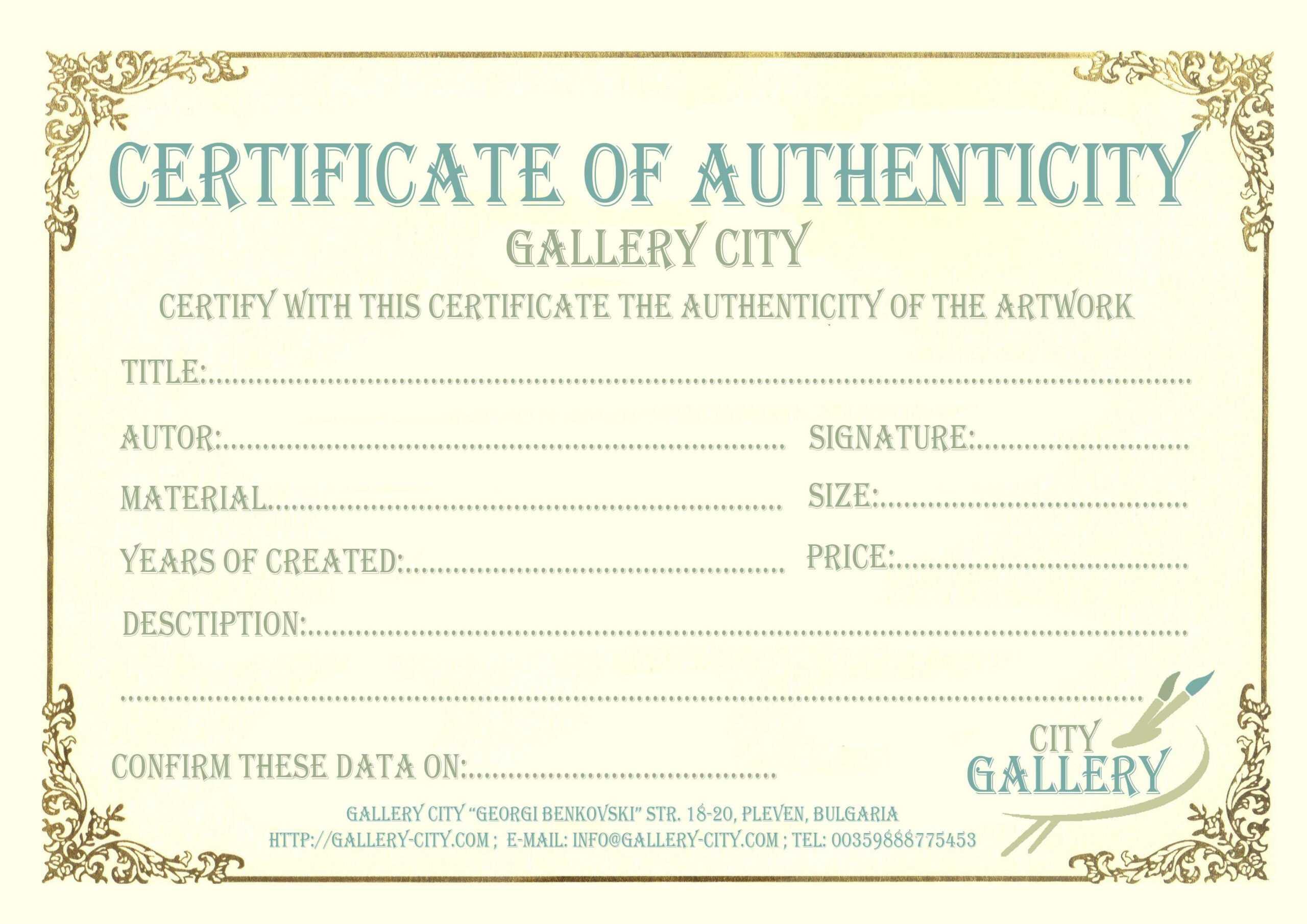 Certificate Authenticity Template Art Authenticity Intended For Free Art Certificate Templates