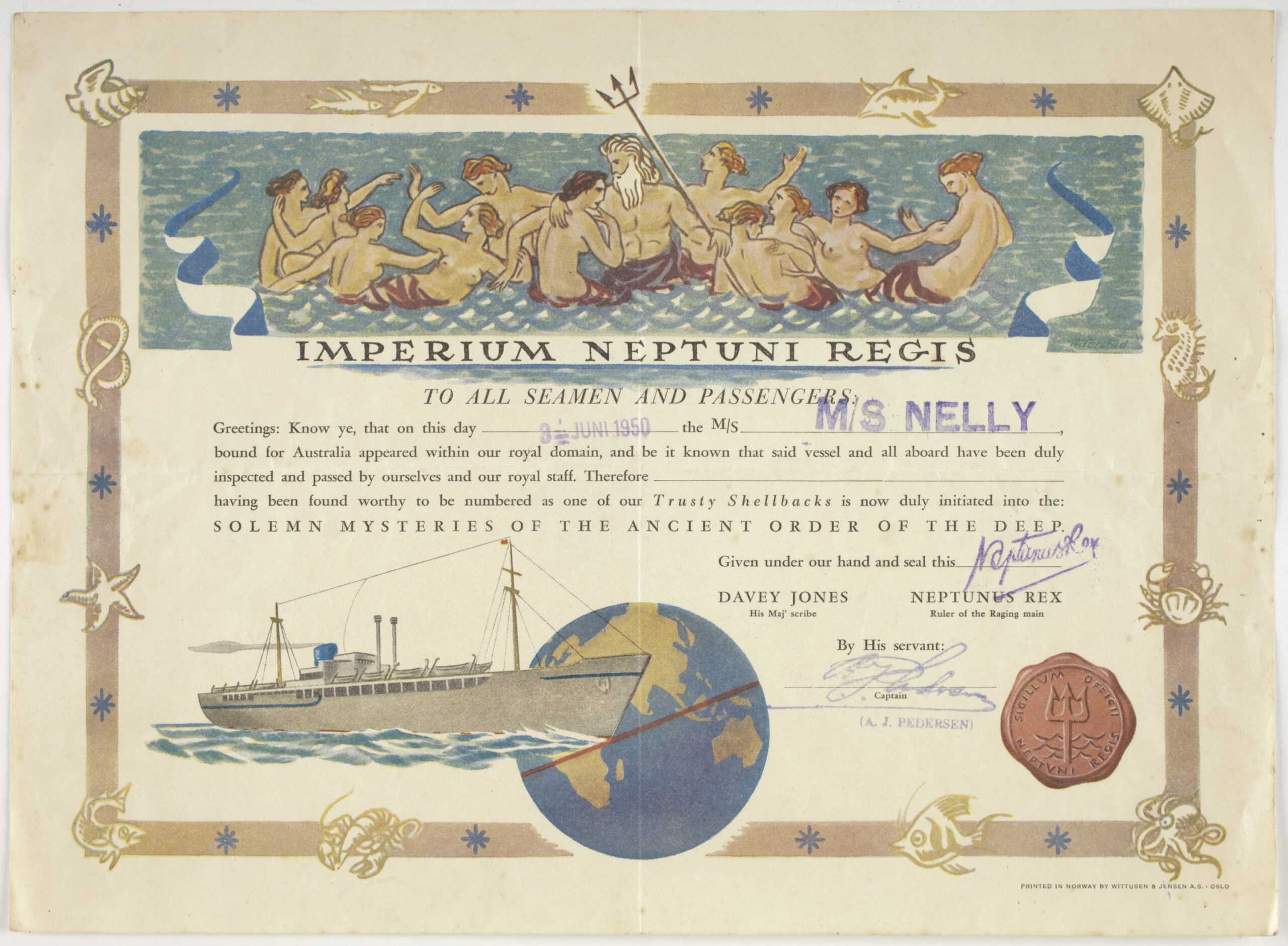 Certificate - Crossing The Equator, Ms Nelly, Wittusen within Crossing The Line Certificate Template