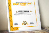 Certificate Design Template For Best Chef Fast Food And Restaurant  Certificate Template inside Design A Certificate Template