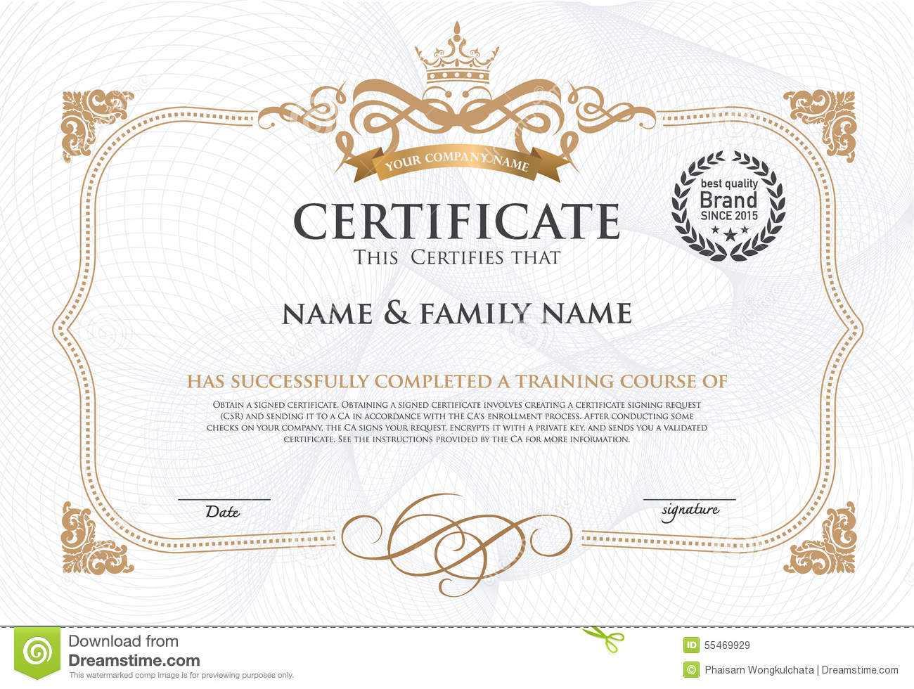 Certificate Design Template. Stock Vector – Illustration Of With Regard To Award Certificate Design Template