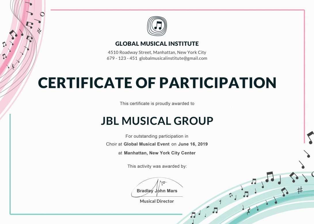 Certificate Format For Ppt Of Participation Template Or Word with regard to Choir Certificate Template