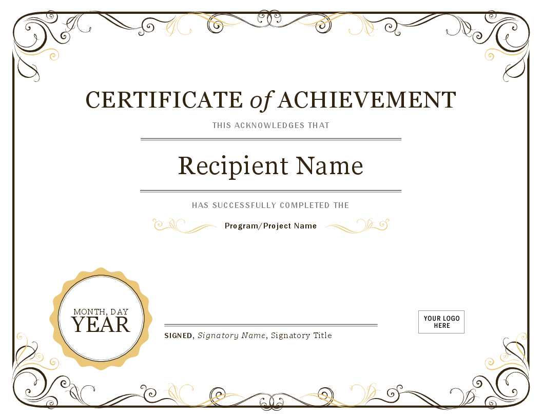 Certificate Of Achievement Pertaining To Word Template Certificate Of Achievement