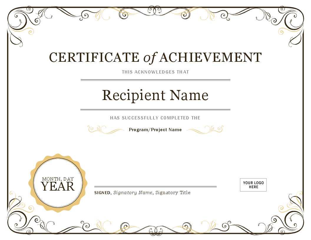 Certificate Of Achievement Regarding Microsoft Office Certificate Templates Free