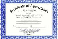 Certificate Of Appreciation | Certificate Templates within Free Certificate Of Excellence Template