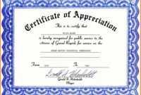 Certificate Of Appreciation Template Word Free Download inside Certificate Templates For Word Free Downloads
