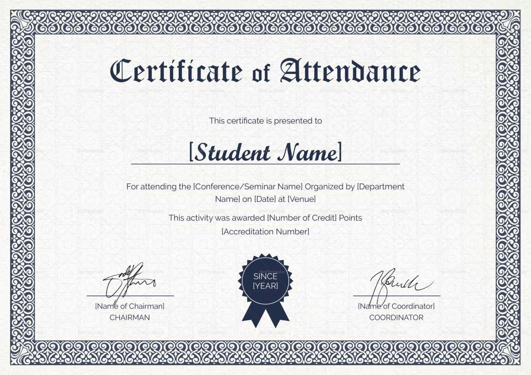 Certificate Of Attendance Sample Text Seminar Letter throughout Certificate Of Attendance Conference Template