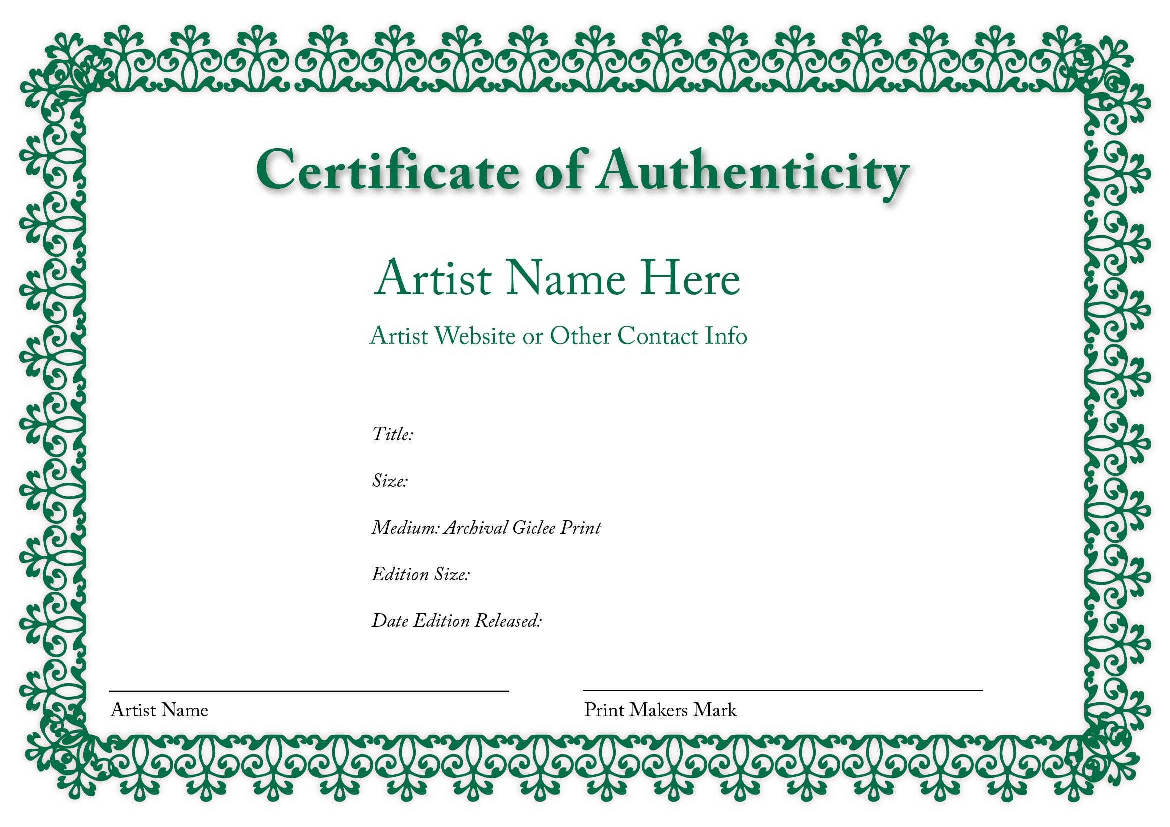 Certificate Of Authenticity Of An Art Print In 2019 Within Certificate Of Authenticity Template