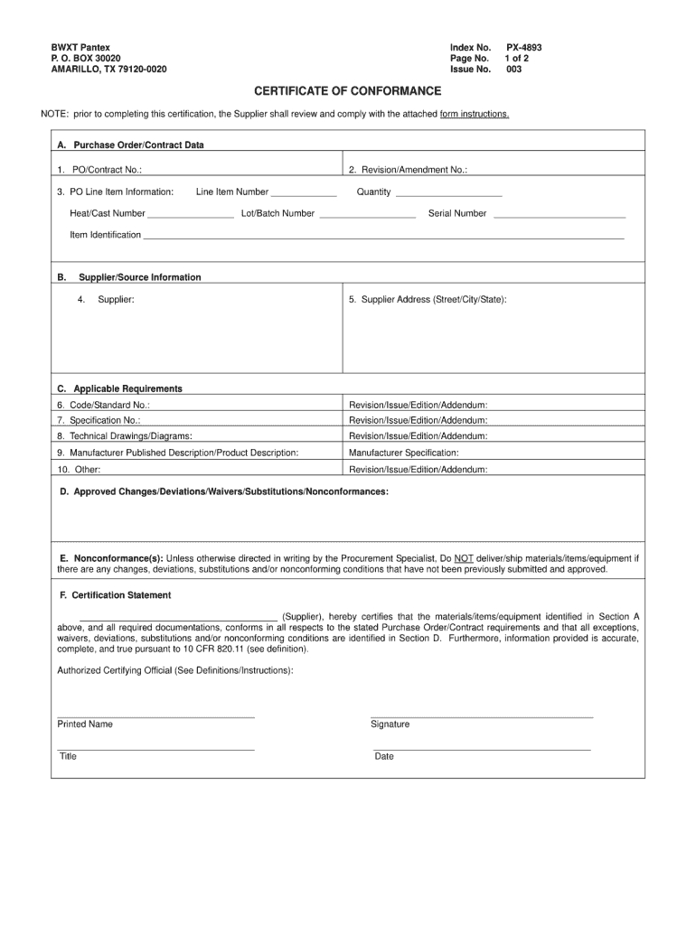 Certificate Of Conformance Template - Fill Online, Printable intended for Certificate Of Conformity Template Free