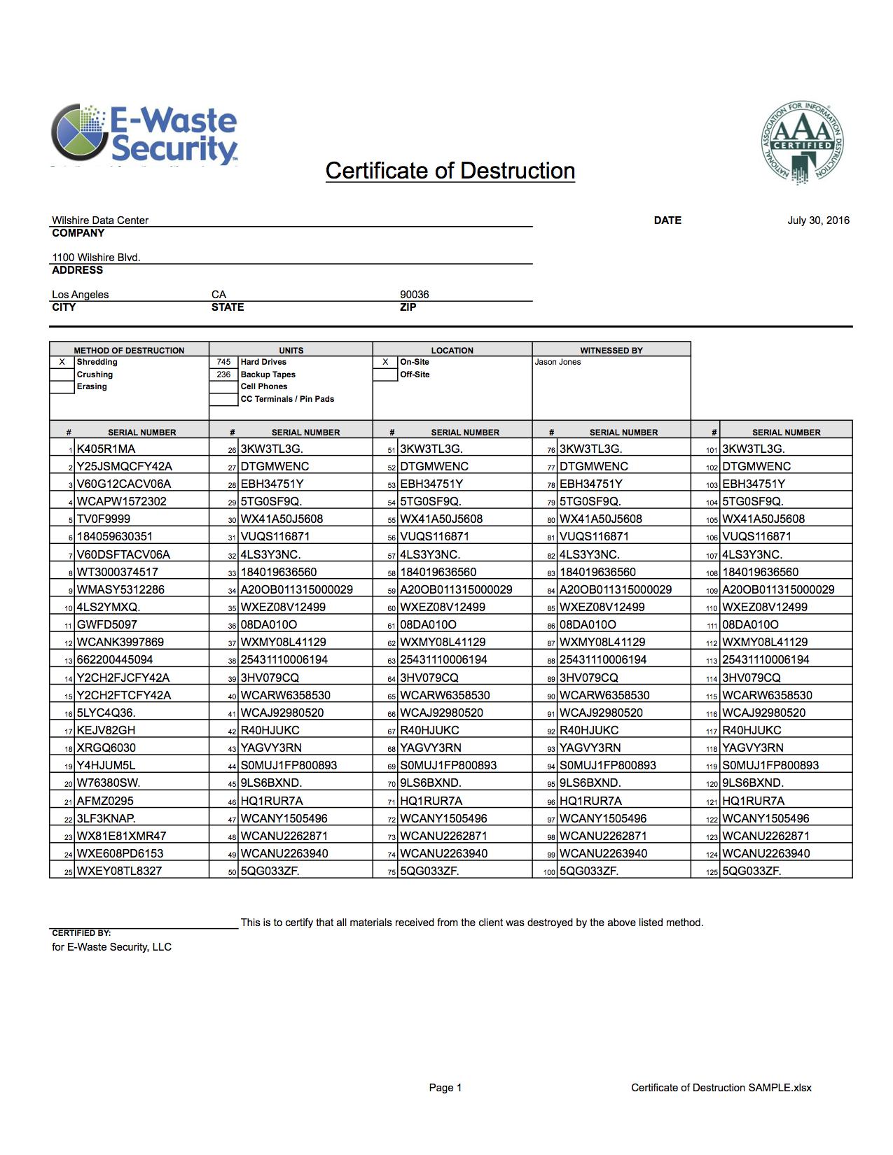 Certificate Of Destruction - Hard Drive Destruction - E for Free Certificate Of Destruction Template